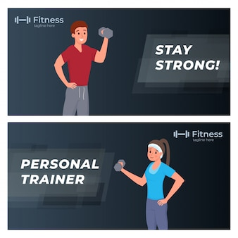 Fitness e esportes banners set plana