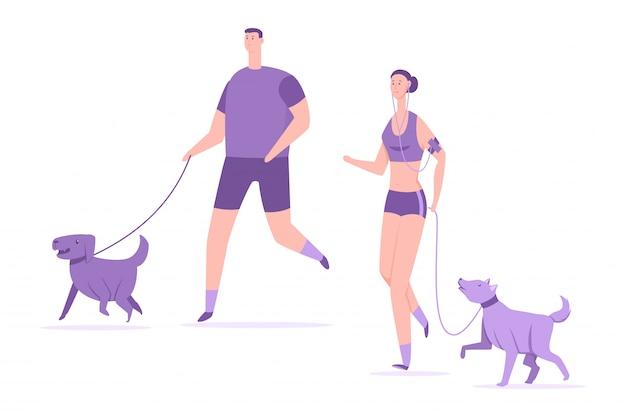 Fitness e esportes com cães. jovem casal correr com ilustração em vetor animais de estimação dos desenhos animados plana isolada