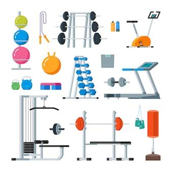 Fitness e exercício físico no ginásio. conjunto de vetores de estilo plano de ícones isolado