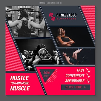 Fitness e ginásio instagram banner