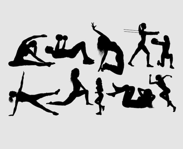 Fitness e ginástica masculina e feminina silhueta