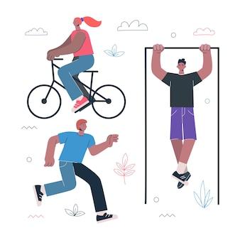 Fitness estilo de vida saudável e exercícios de esportes de rua exercício conceito pessoas andam de bicicleta correndo
