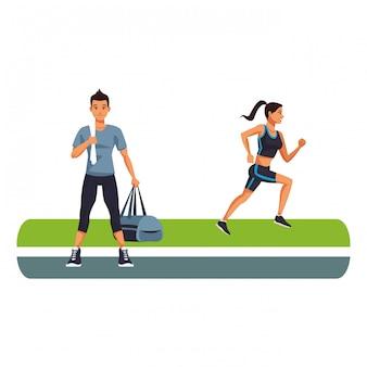 Fitness homem e mulher correndo
