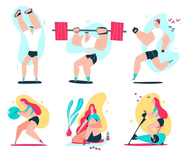 Fitness homem e mulher fazendo exercício. ilustração dos desenhos animados do vetor do exercício dos pares.