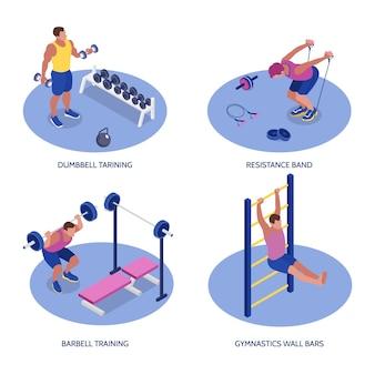 Fitness isométrico definido com homem treinando com halteres halteres resistência banda e barras de parede 3d isoladas