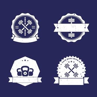 Fitness, logotipos de academia, distintivos, emblemas com barras cruzadas