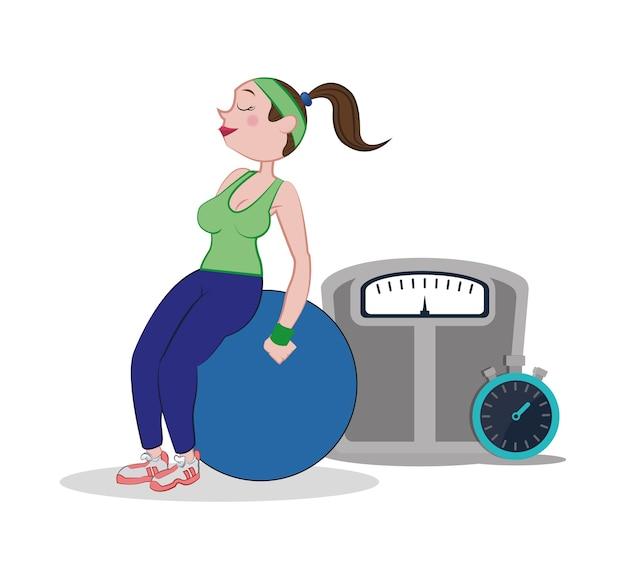 Fitness mulher fitball escala de peso e cronômetro