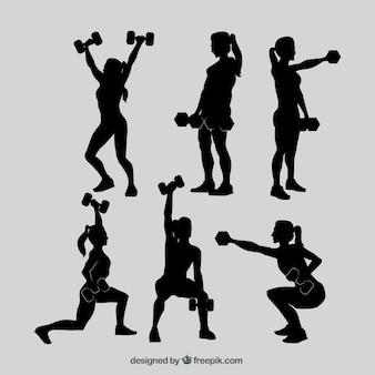 Fitness mulher silhuetas coleção