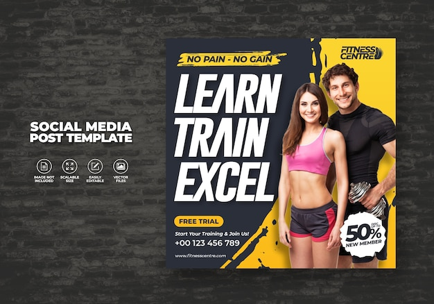 Fitness ou gym social media banner ou square excercise sport studio flyer modlate