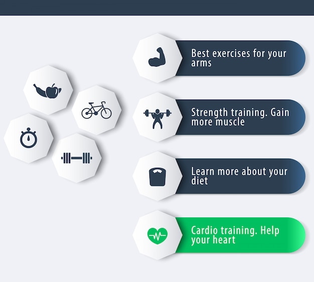 Fitness, treinamento, academia, ícones de treino com banner geométrico 3d em azul escuro e verde, ilustração