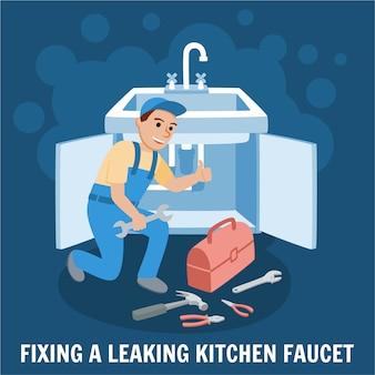 Fixação de torneira da cozinha com vazamento