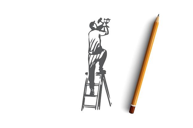 Fixação, instalação, reparo, trabalhador, conceito de construção. reparador de mão desenhada que fixa o esboço do conceito de construção. ilustração.