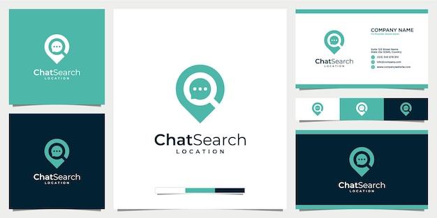 Fixe o ícone do logotipo do bate-papo da pesquisa do local do bate-papo com o modelo de cartão de visita