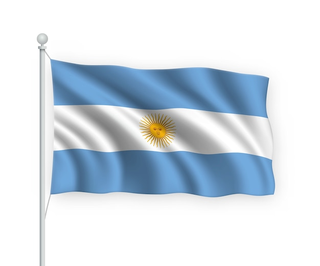 Flag argentina no mastro isolado no branco