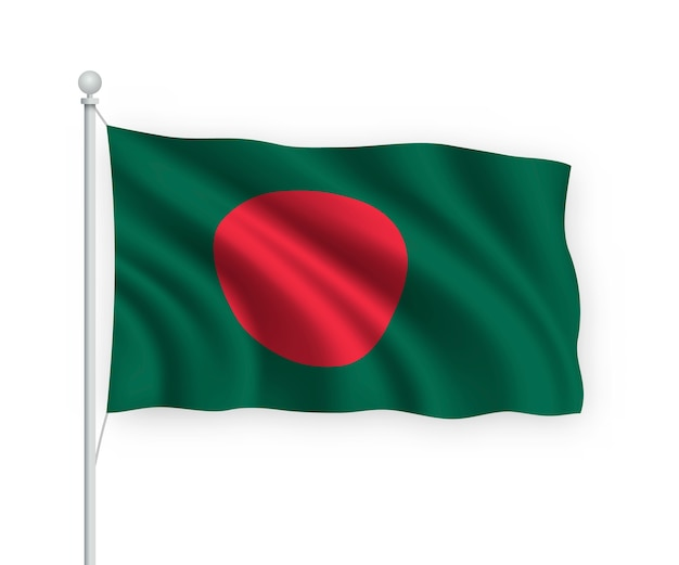 Flag bangladesh no mastro isolado no branco