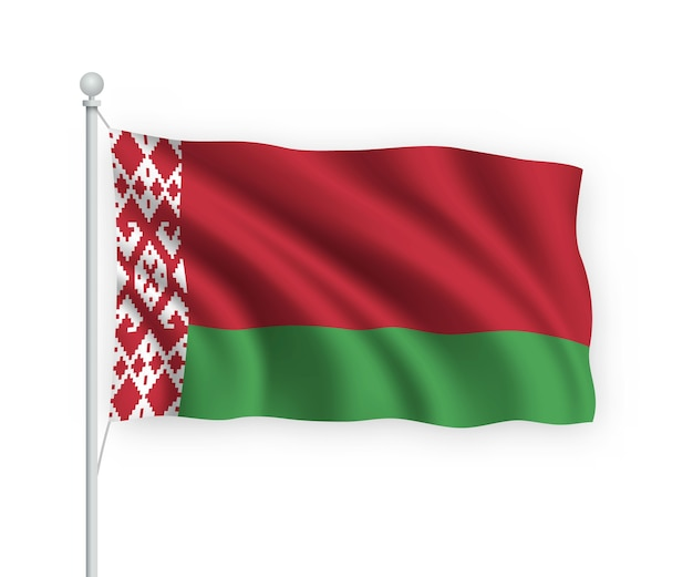 Flag belarus no mastro isolado no branco