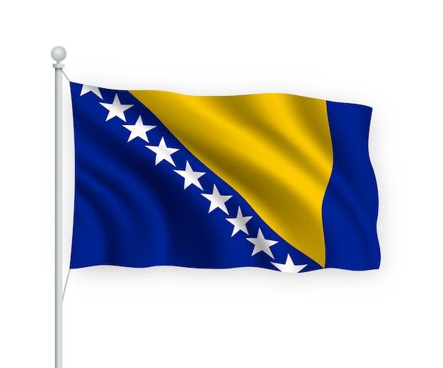 Flag bósnia no mastro isolado no branco
