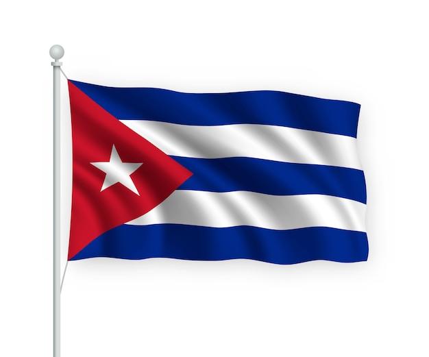 Flag cuba no mastro isolado no branco