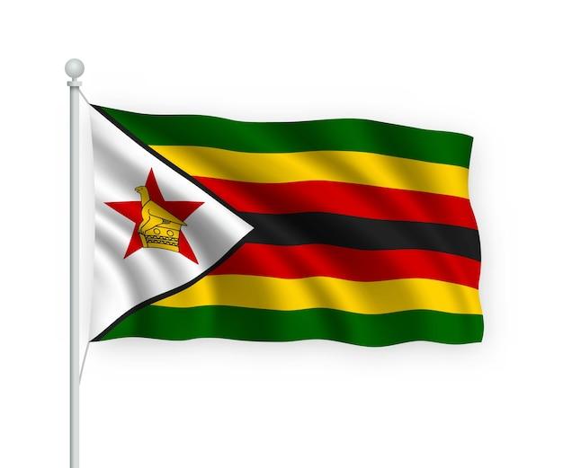 Flag zimbabwe no mastro isolado no branco