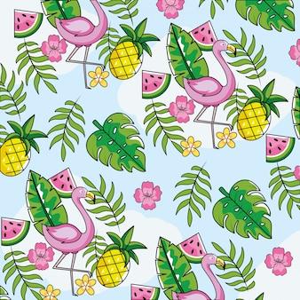 Flamengo com frutas tropicais e folhas de fundo