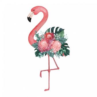 Flamingo aquarela exótica ilustração com arranjo floral tropical