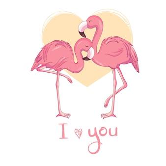Flamingo bird illustration design Vetor Premium