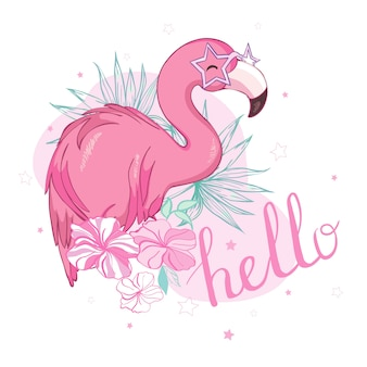 Flamingo bird illustration design