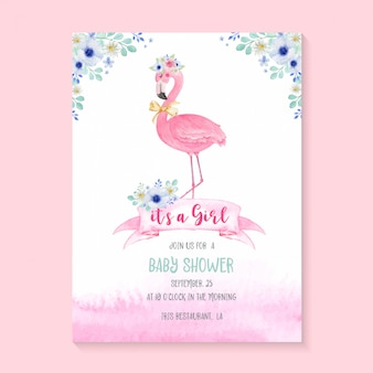 Flamingo bonito aquarela e flores para convite de festa de chá de bebê. cartão de convite de modelo de chuveiro de bebê