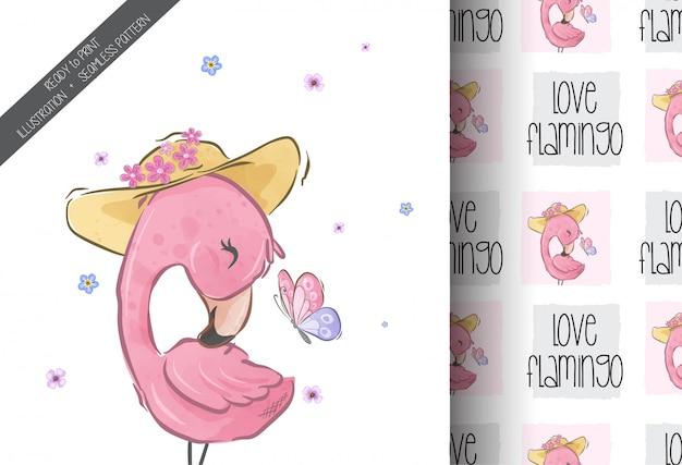 Flamingo bonito bonito com padrão sem emenda de borboleta