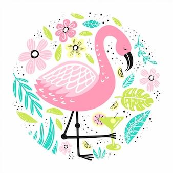 Flamingo bonito com elementos desenhados à mão.