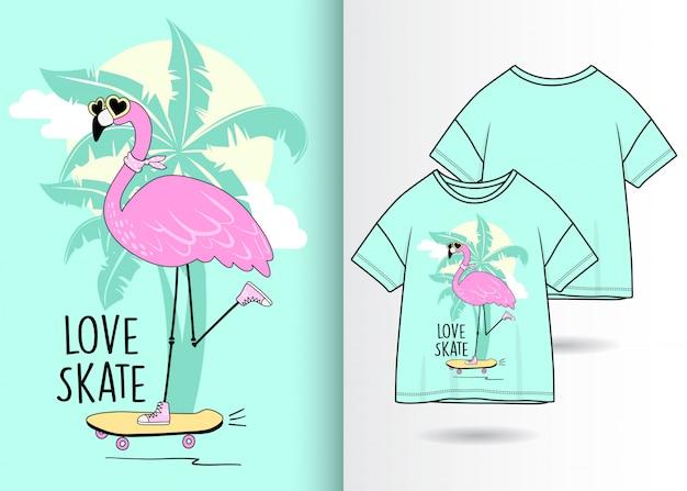Flamingo bonito desenhado de mão com camiseta