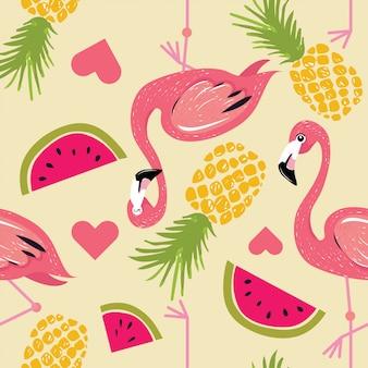 Flamingo com folhas de monstera padrão de verão