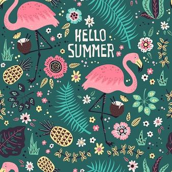 Flamingo com frutas tropicais, plantas e flores padrão
