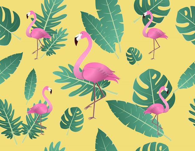 Flamingo criativo da ilustração do vetor e folhas tropicais.