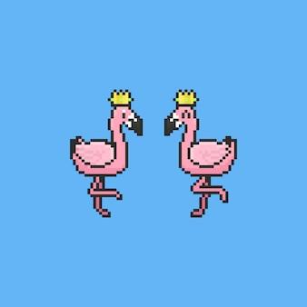 Flamingo de desenhos animados de pixel com coroa
