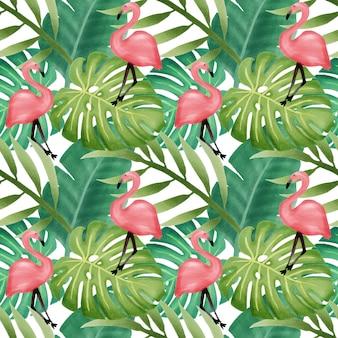 Flamingo de padrão sem emenda de folha tropical linda aquarela