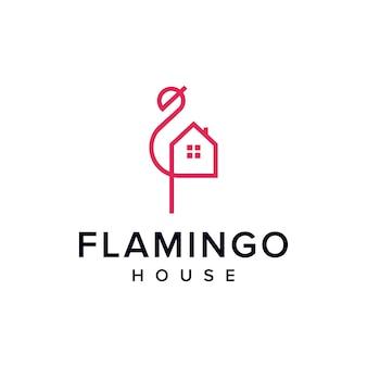 Flamingo e contorno da casa simples, elegante, criativo, geométrico, moderno, logotipo