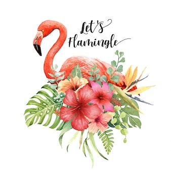 Flamingo em aquarela em buquê de hisbiscus