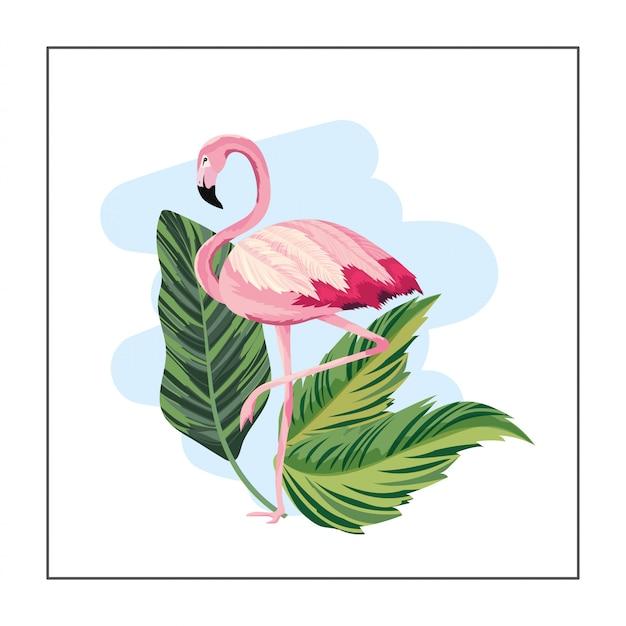 Flamingo exótico com plantas de folhas tropicais