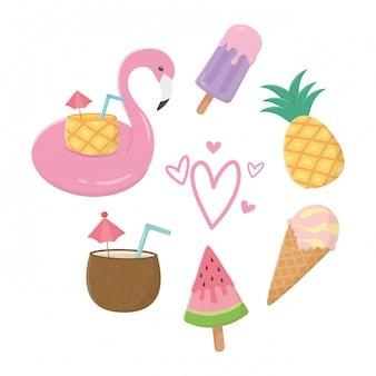 Flamingo flutuante e elementos de verão