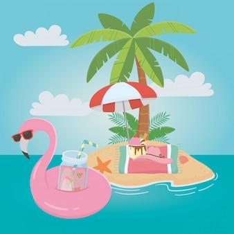 Flamingo flutuante e verão