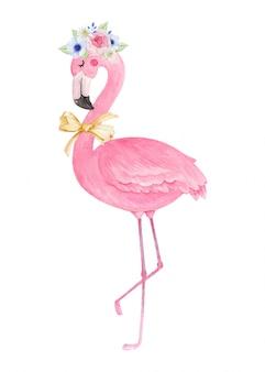 Flamingo fofo com coroa de flores e fita de laço, aquarela mão ilustrações desenhadas.