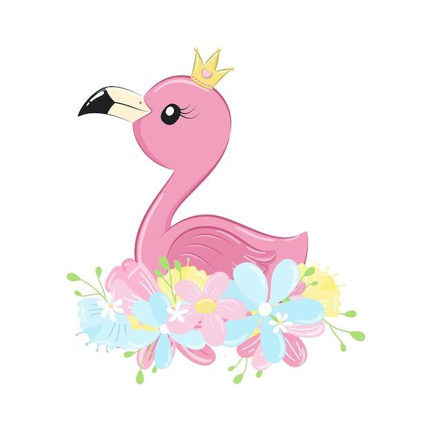 Flamingo fofo com flores e coroa.