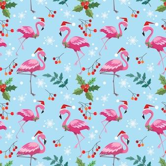 Flamingo fofo com padrão sem emenda de planta de natal.