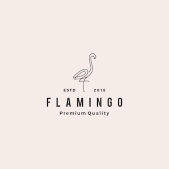 Flamingo logo vector line outline monoline ícone ilustração