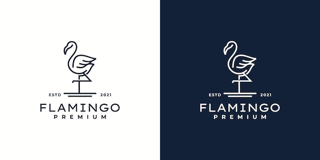 Flamingo logo vector linha contorno mono line icon ilustração