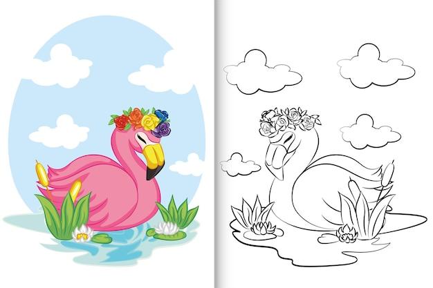 Flamingo nadando no lago para livro de colorir, página para colorir.