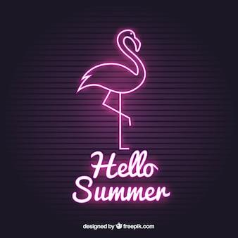 Flamingo néon com luz rosa