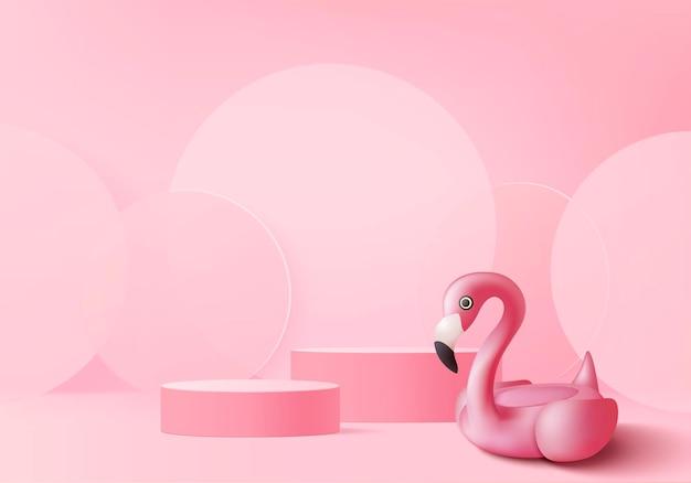 Flamingo rosa 3d render para exibição de produtos de fundo de verão. cena de pódio com plataforma geométrica rosa