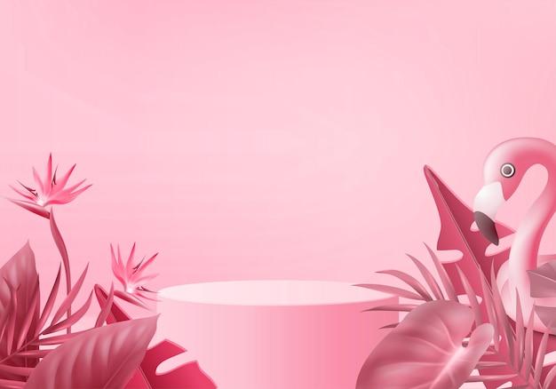 Flamingo rosa 3d renderizando anel inflável de natação no pedestal fundo rosa 3d